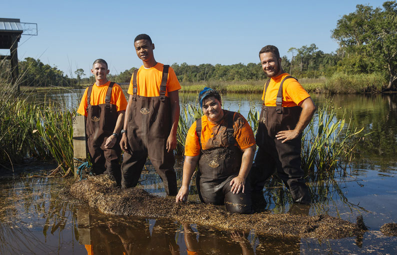 Young volunteers enhancing a wetland