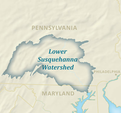 Map showing the Lower Susquehanna watershed in Pennsylvania and Maryland