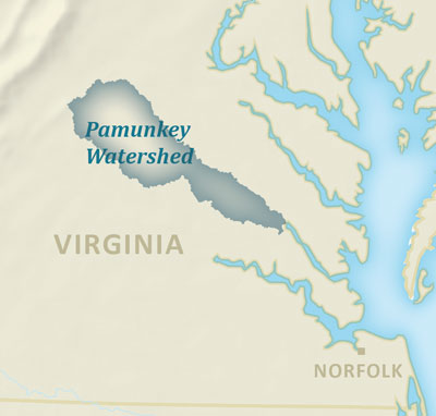 Map showing the Pamunkey watershed in Virginia