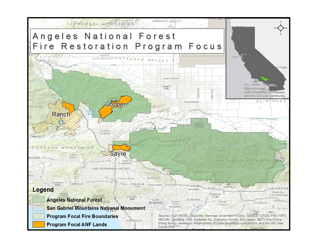National Forests In California Map.Angeles National Forest Wildfires Restoration Grant Program