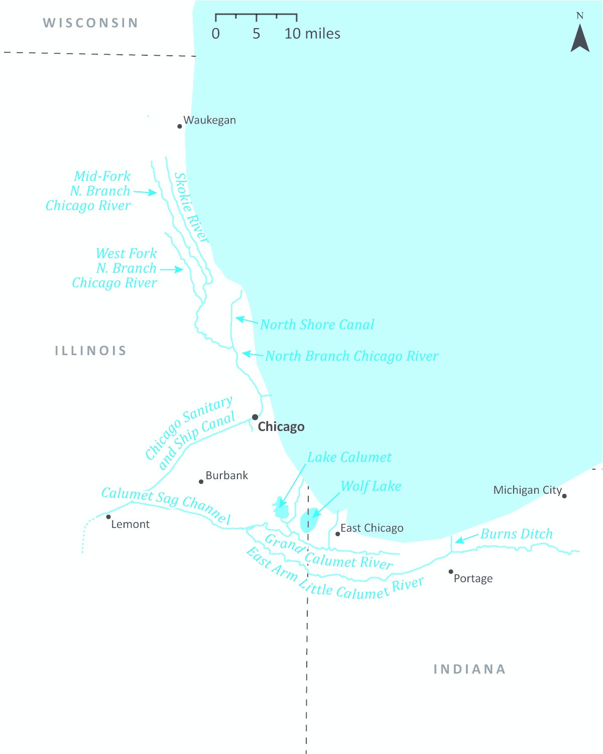 Map of the Chicago and Calumet Rivers