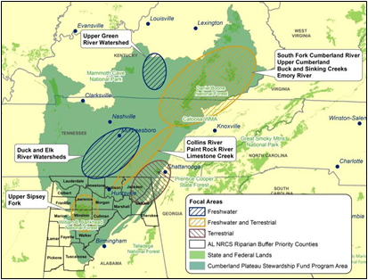 Map of the focal areas of the Cumberland Plateau Stewardship Fund