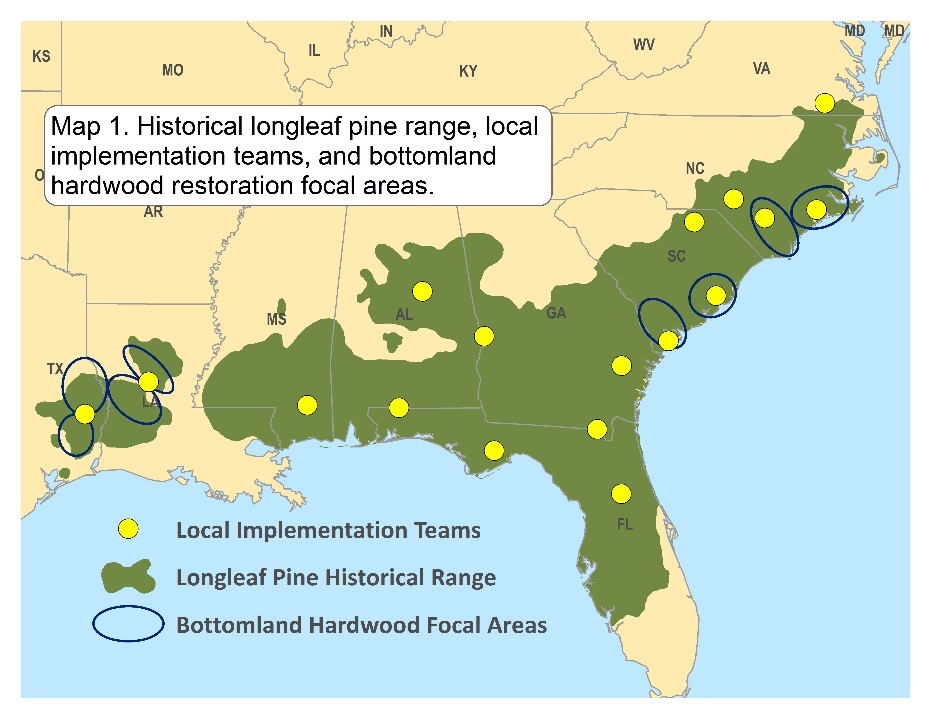 Map of the southeast US showing the historic range of longleaf habitat, locations of local implementation teams, and bottomland hardwood restoration focal areas.