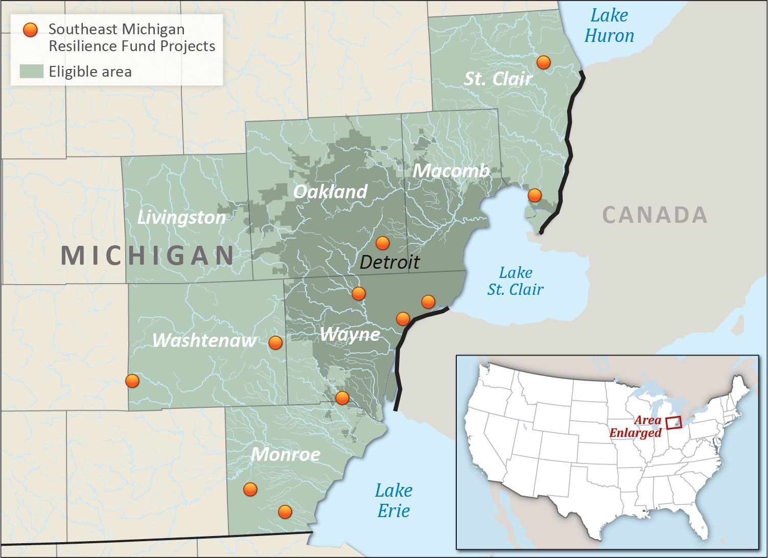 Southeast Michigan Resilience Fund project map