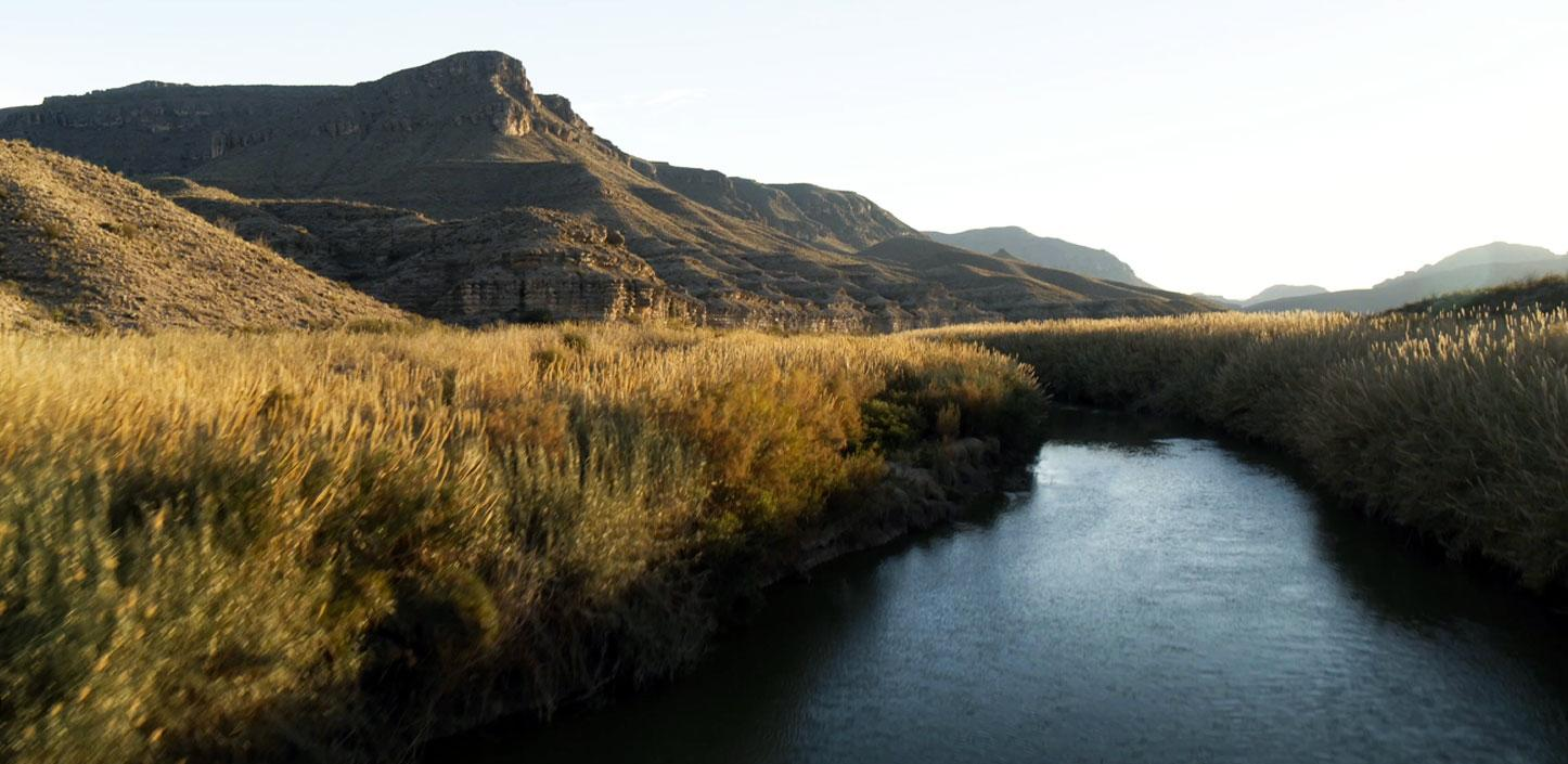 The Pecos watershed with mountains in the background