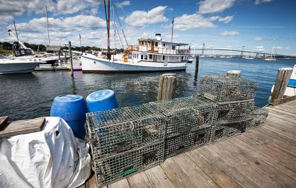 Lobster Pots and Boats at Jamestown Rhode Island
