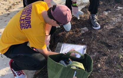 Volunteers record outcomes from beach cleanups in Miami as part of a project supported by the Resilient Communities program.